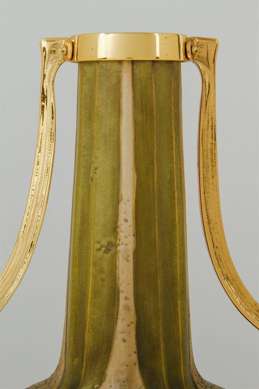 20th Century Austrian Amphora RStK Vase Pair with Gold Metal Mounts, Paul Dachsel Attr.  For Sale