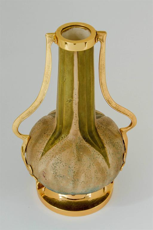 Austrian Amphora RStK Vase Pair with Gold Metal Mounts, Paul Dachsel Attr.  In Good Condition For Sale In Los Angeles, CA