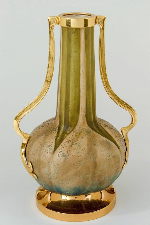 Glazed Austrian Amphora RStK Vase Pair with Gold Metal Mounts, Paul Dachsel Attr.  For Sale