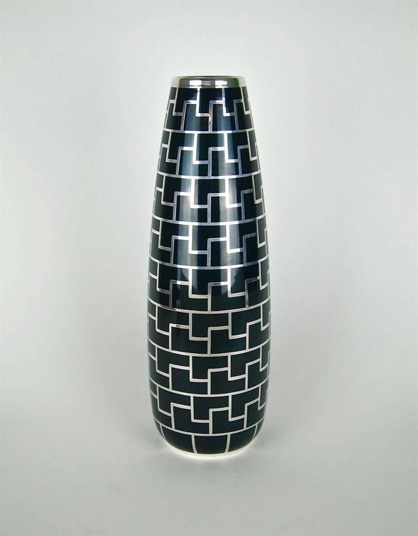 Large Art Deco Vase Hutschenreuther Porcelain With Pure Silver