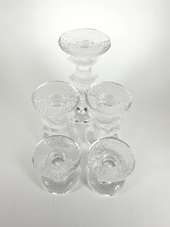 Finnish Signed Timo Sarpaneva iittala Festivo Scandinavian Glass Candlestick Collection  For Sale
