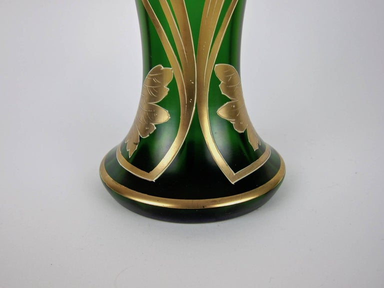 Antique Jeweled and Enameled Secessionist Green and Gold Glass Vase  For Sale 1