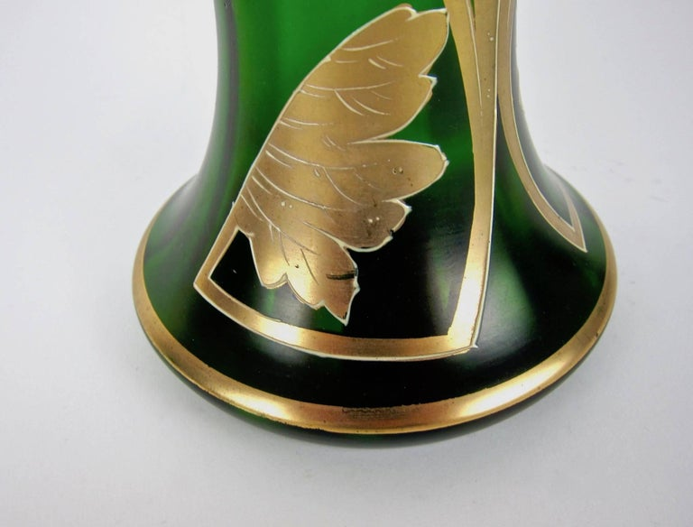 Antique Jeweled and Enameled Secessionist Green and Gold Glass Vase  For Sale 2