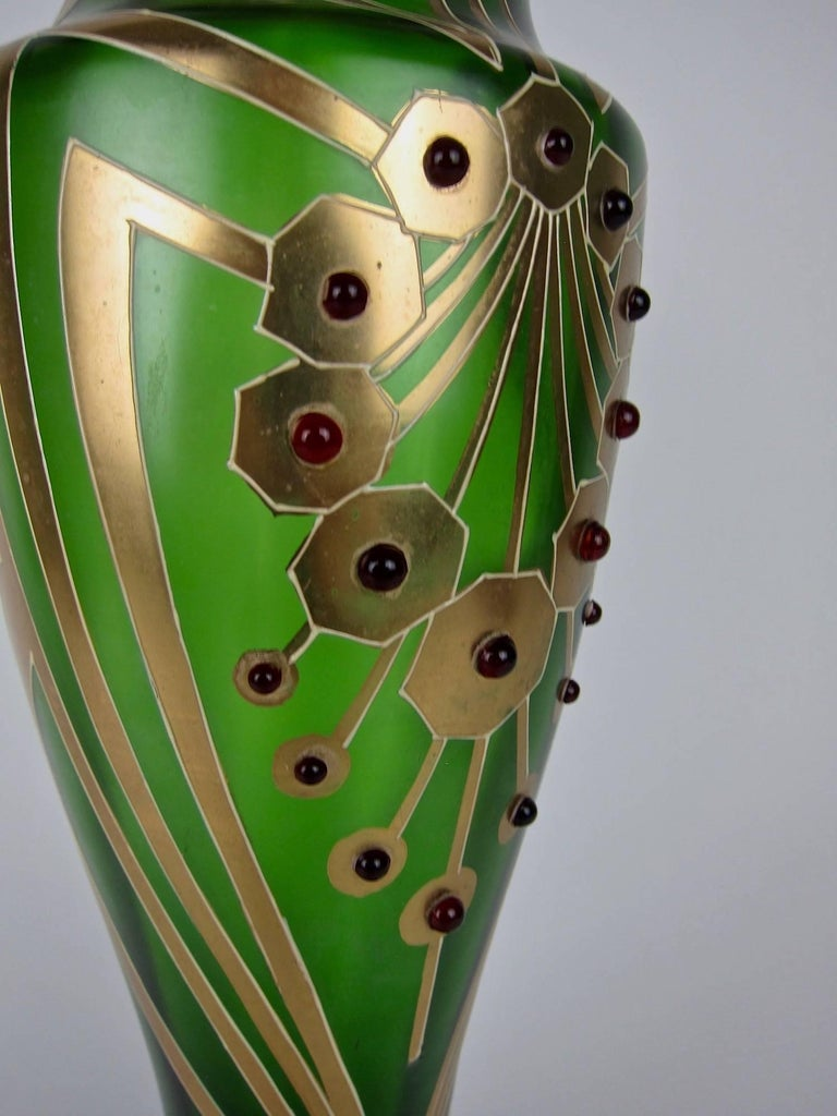Antique Jeweled and Enameled Secessionist Green and Gold Glass Vase  In Good Condition For Sale In Los Angeles, CA