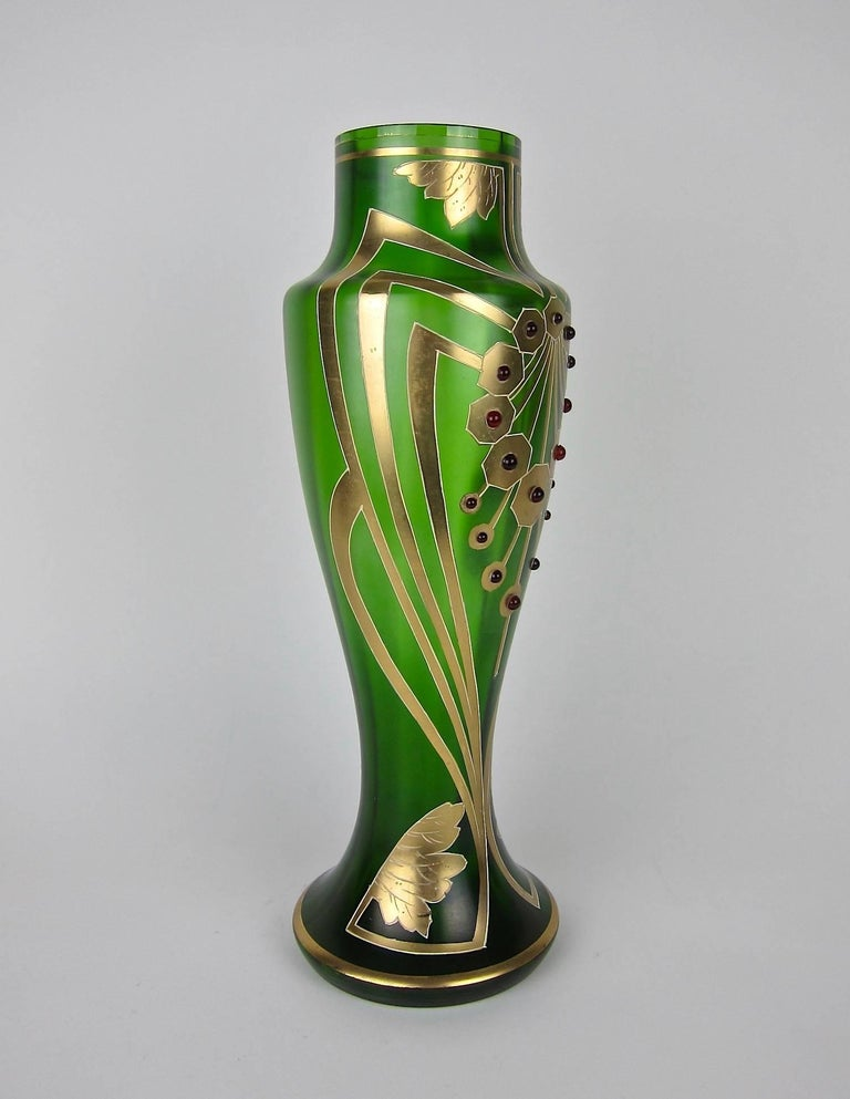 Vienna Secession Antique Jeweled and Enameled Secessionist Green and Gold Glass Vase  For Sale
