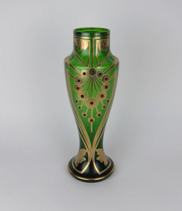 20th Century Antique Jeweled and Enameled Secessionist Green and Gold Glass Vase  For Sale