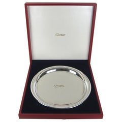 Vintage Cartier Polished Pewter Tray with Original Red Presentation Box