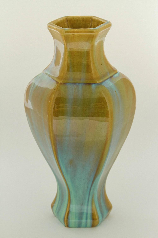 Vintage arts and crafts fulper pottery vase with green for Arts and crafts vases pottery