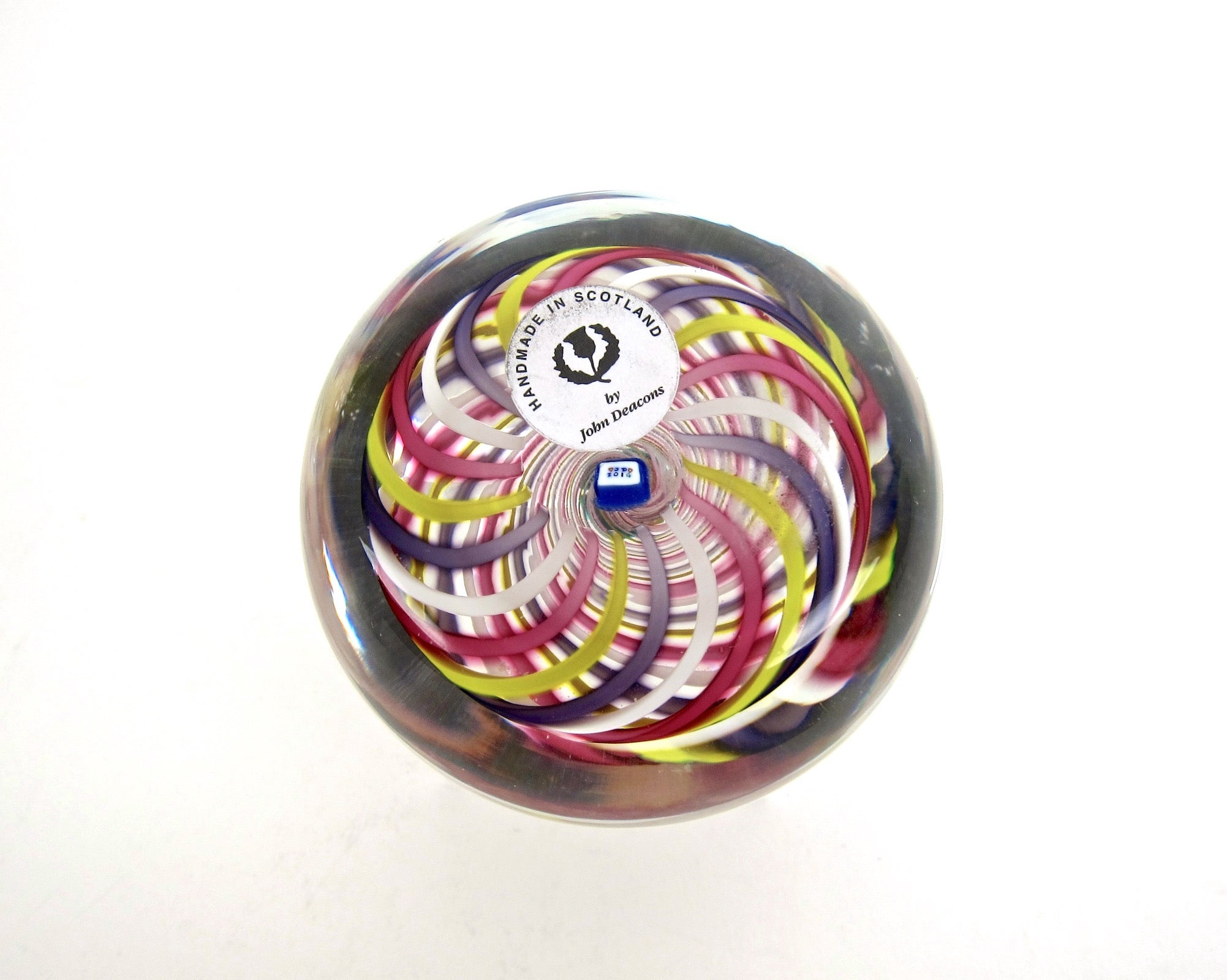Studio Glass Swirl Paperweight with Clichy Style Rose