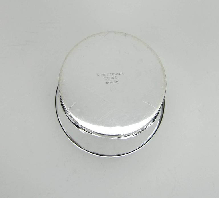 American Art Deco Sterling Silver Box by Marie Zimmermann For Sale 4