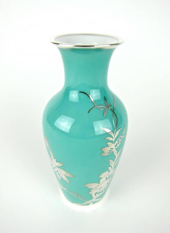 Rosenthal Porcelain Silver Overlay Vase At 1stdibs