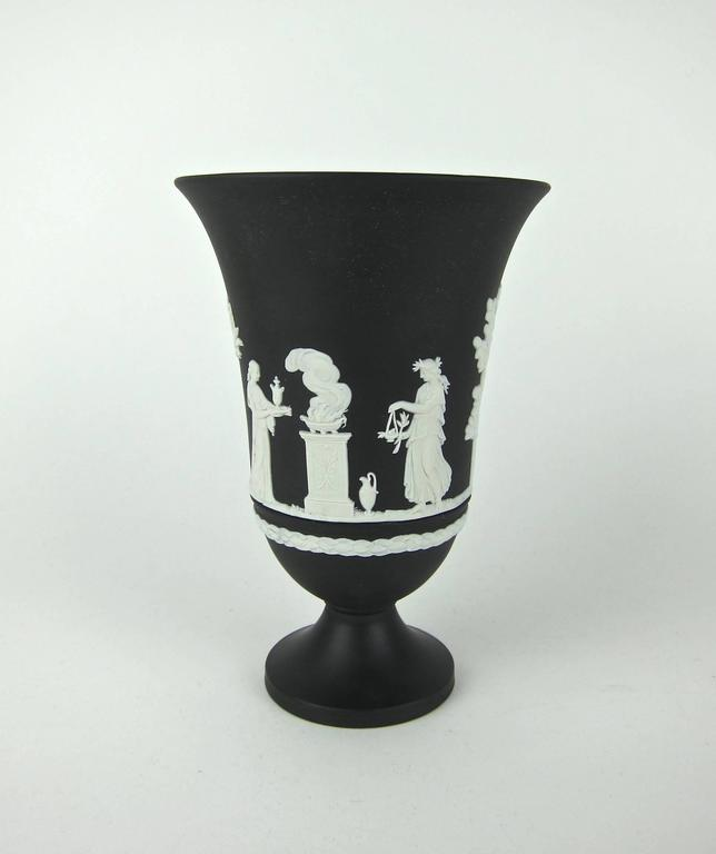 Wedgwood Black Jasper Ware Neoclassical Vase With Sacrifice Figures