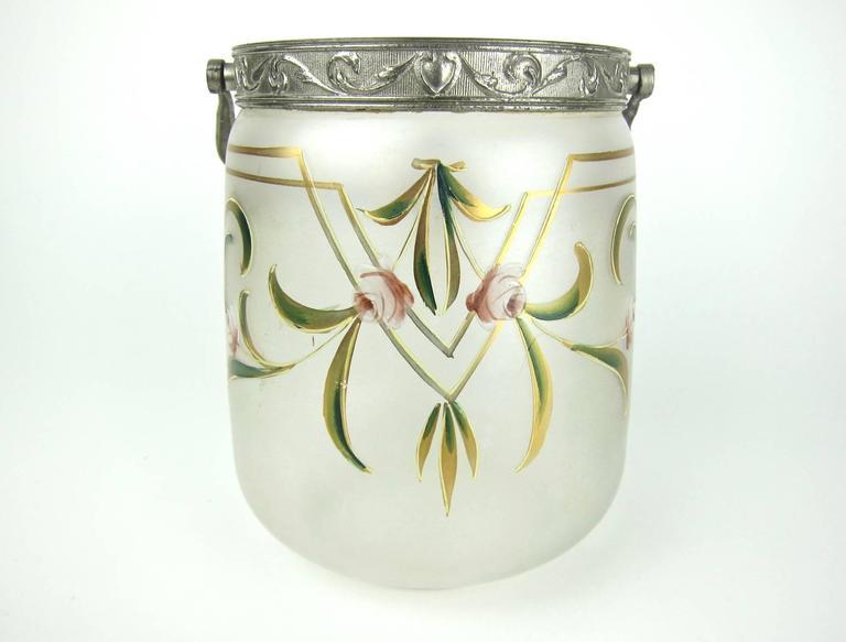 Antique glass biscuit jar with art nouveau enamel for Art nouveau decoration ameublement