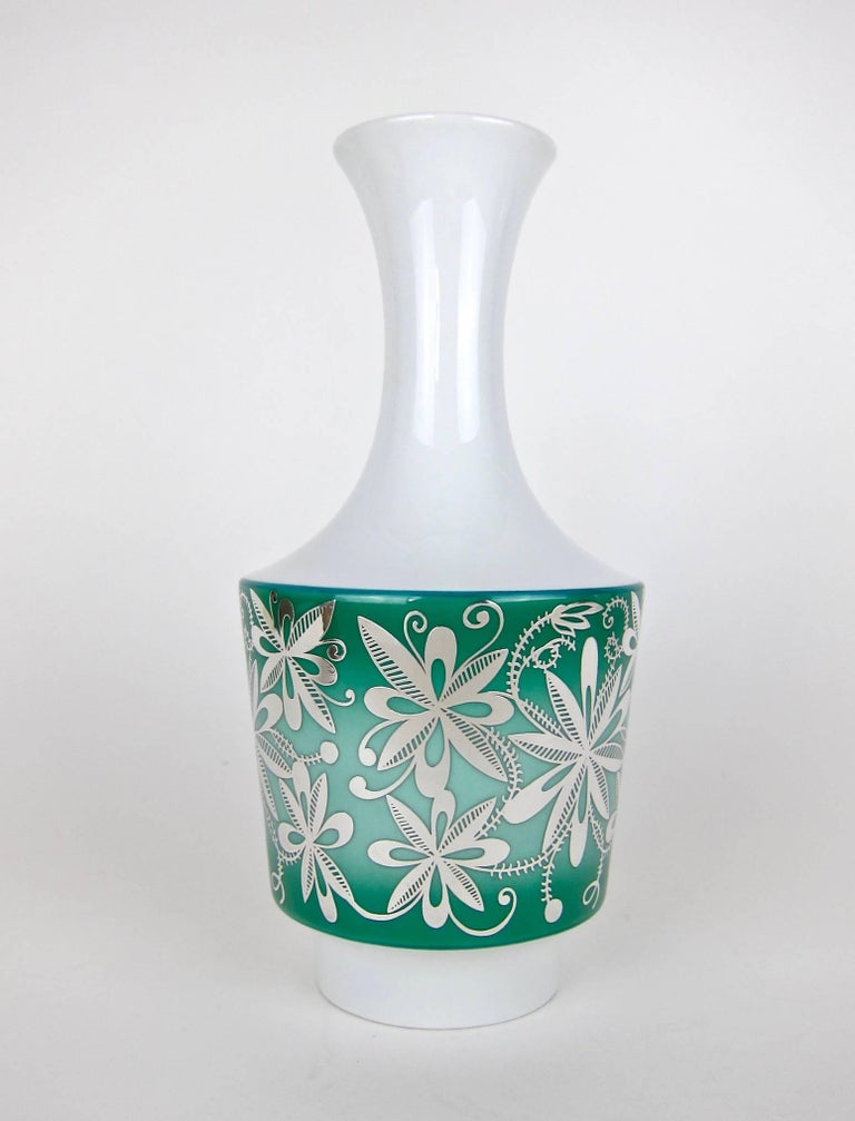 Silver Overlay Vase From Spahr And Co For Edelstein Porcelain For