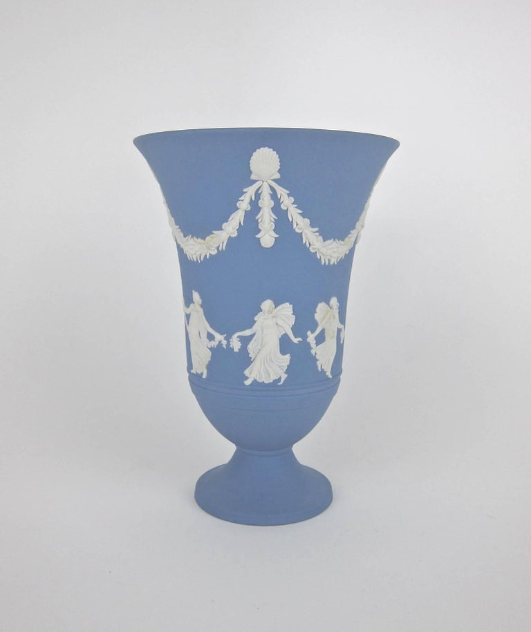 Vintage Arcadian Flower Girl Vase In Solid Wedgwood Jasper Ware At