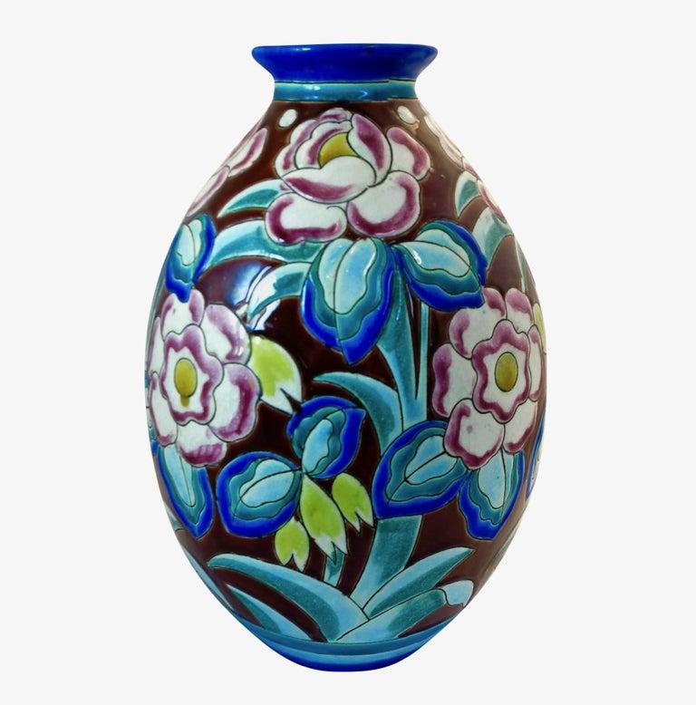 Large Art Deco Boch Freres Keramis Vase In Good Condition For Sale In Los Angeles, CA