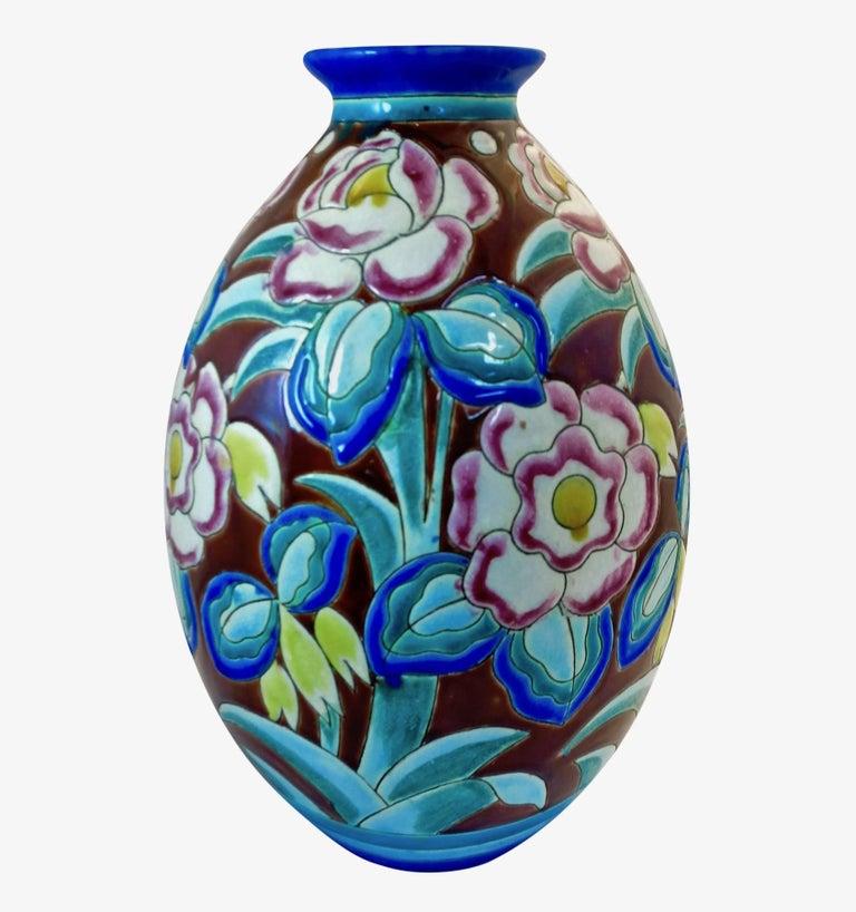 Ceramic Large Art Deco Boch Freres Keramis Vase For Sale