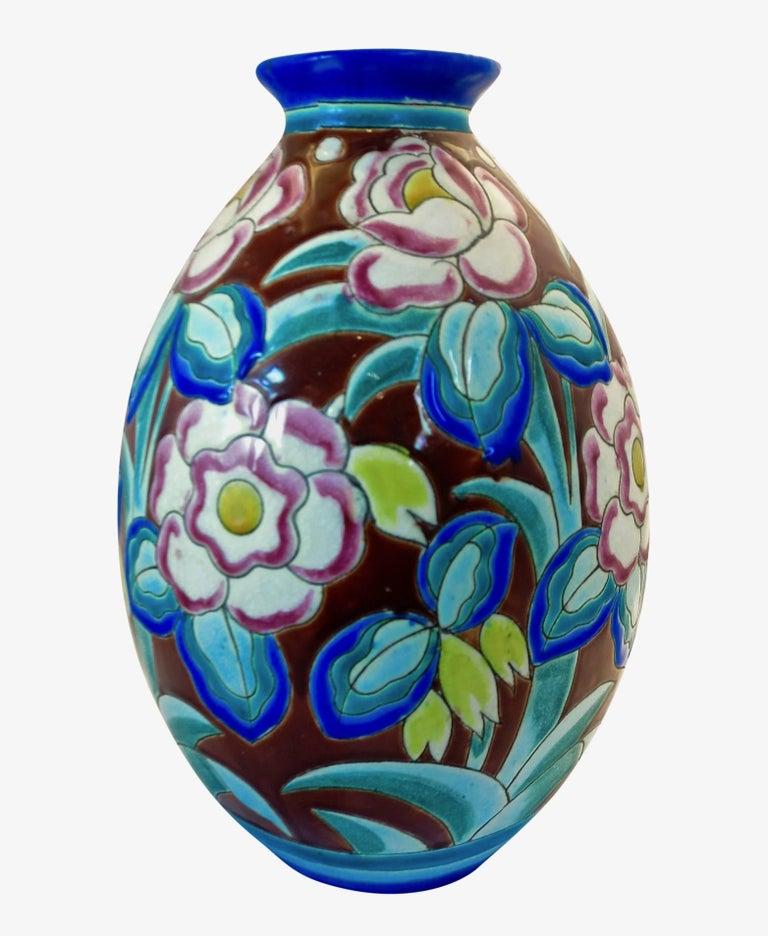 20th Century Large Art Deco Boch Freres Keramis Vase For Sale