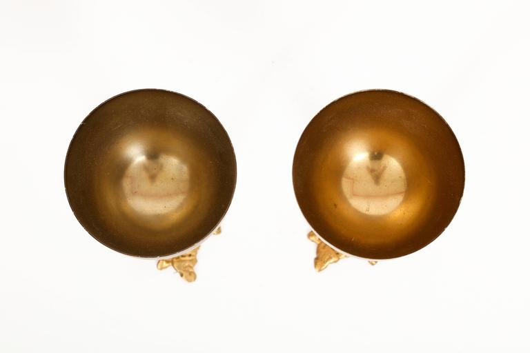 Gabriella Crespi Signed Brass Chalices 1970 Mid Century Italian In Good Condition For Sale In New York, NY