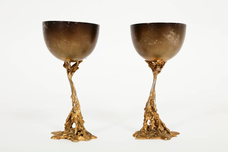 Gabriella Crespi Signed Brass Chalices 1970 Mid Century Italian For Sale 1