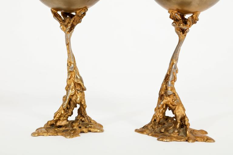 20th Century  Gabriella Crespi Signed Brass Chalices 1970 Mid Century Italian For Sale