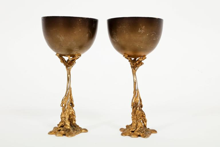 Gabriella Crespi Signed Brass Chalices 1970 Mid Century Italian For Sale 2