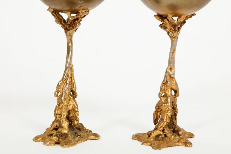 Gabriella Crespi Signed Brass Chalices 1970 Mid Century Italian For Sale 4