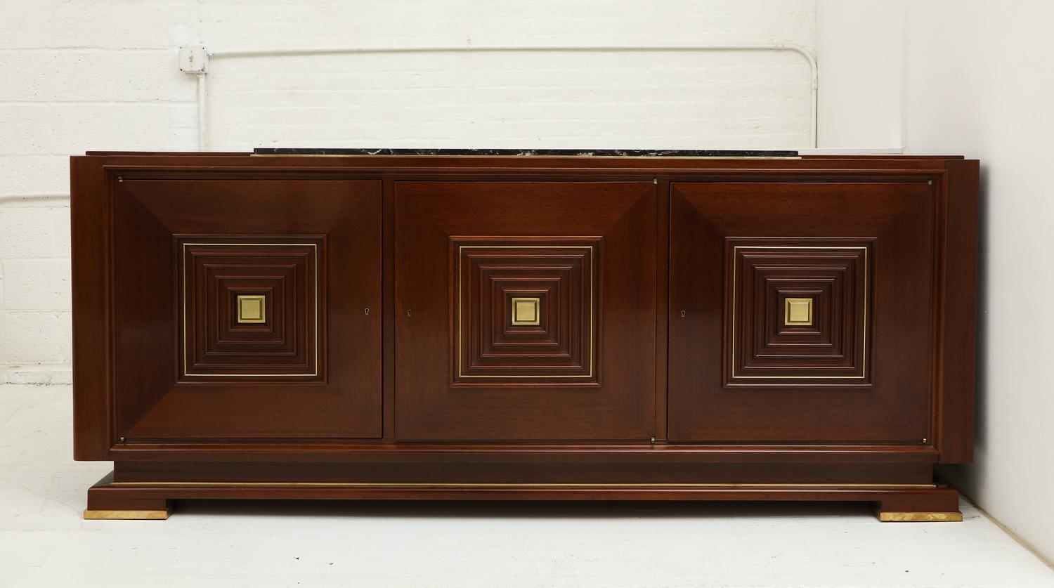 Deco mahogany french buffet sideboard with bronze