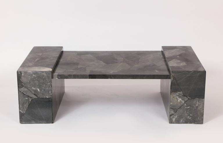 Muller Faux Marble Stone Coffee Table Hand Painted Grey Black Mexico 1970