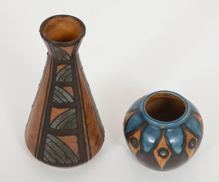 Art deco french glazed ceramic vases by hb quimper odetta for Deco quimper