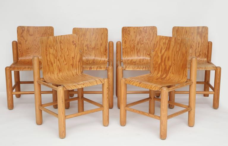 mid century six wood chairs with incredible wood detail 1960s 1970s
