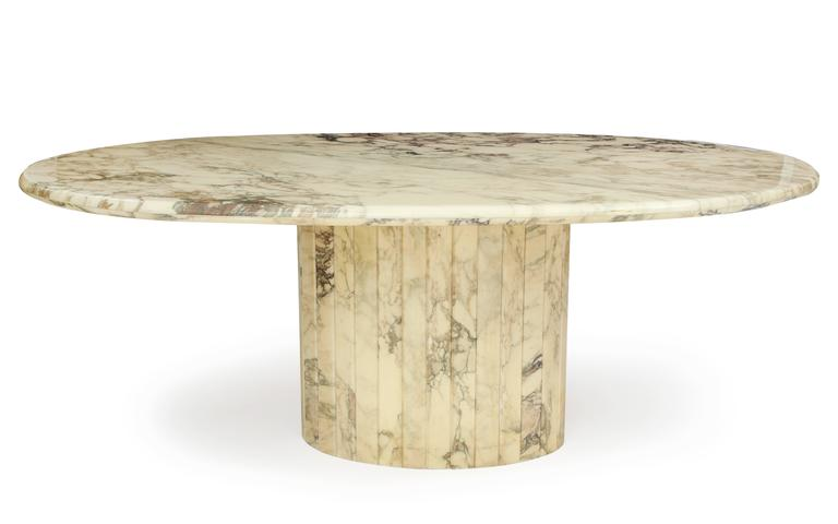 Vintage White Brown Grey Oval Marble Dining Table Mid