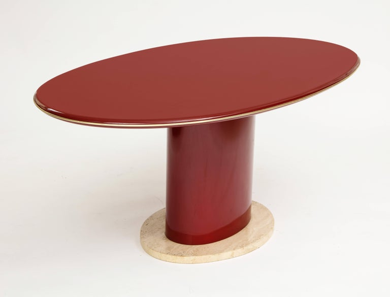 Mid-Century Modern Red Wood Lacquer Dining Table, Desk, Travertine Base and Gold Trim, 1980s France For Sale