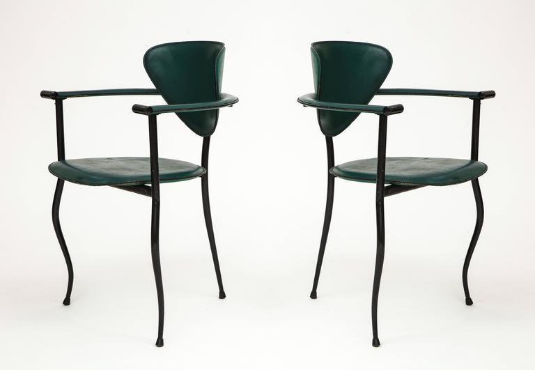 Postmodern Sculptural Green Leather and Iron Side Chairs 1980's, 1990's  Postmodern side chairs that are very unusual. Believed to be from 1980's. Imported from France.   .