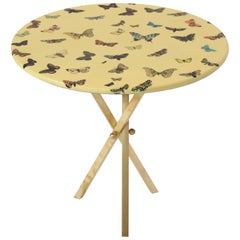 Fornasetti Butterfly Table with Brass Base 1950, 1970 Midcentury Italian