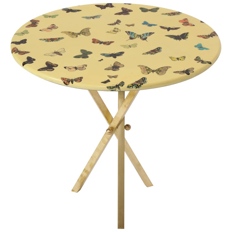 Fornasetti Butterfly Table with Brass Base 1950, 1970 Midcentury Italian For Sale