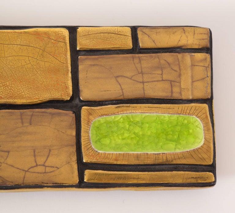 Mid-Century Modern Mithe Espelt Enamel Ceramic Box Gold Yellow Green Midcentury, France, 1960s For Sale