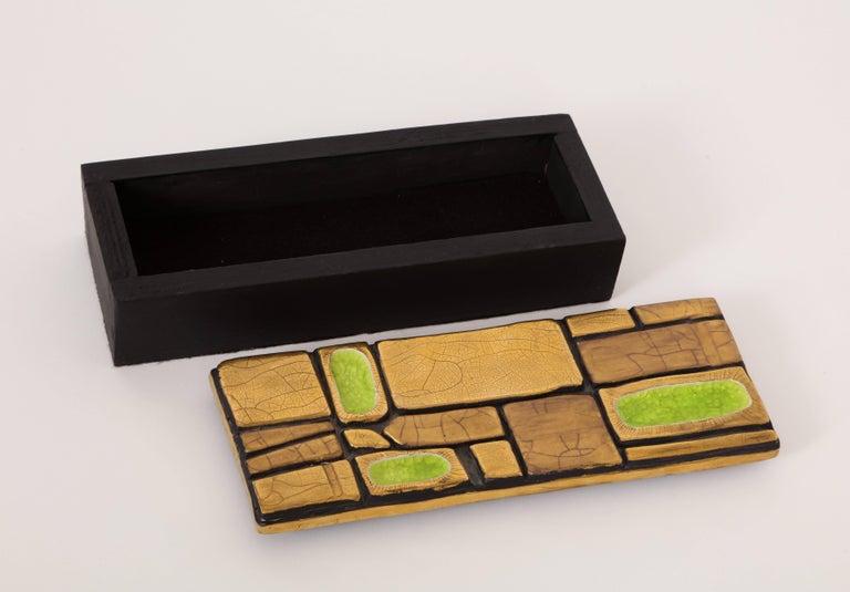 French Mithe Espelt Enamel Ceramic Box Gold Yellow Green Midcentury, France, 1960s For Sale
