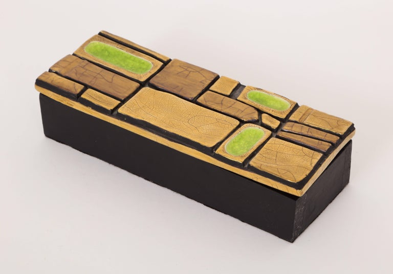 Mithe Espelt Enamel Ceramic Box Gold Yellow Green Midcentury, France, 1960s In Good Condition For Sale In New York, NY