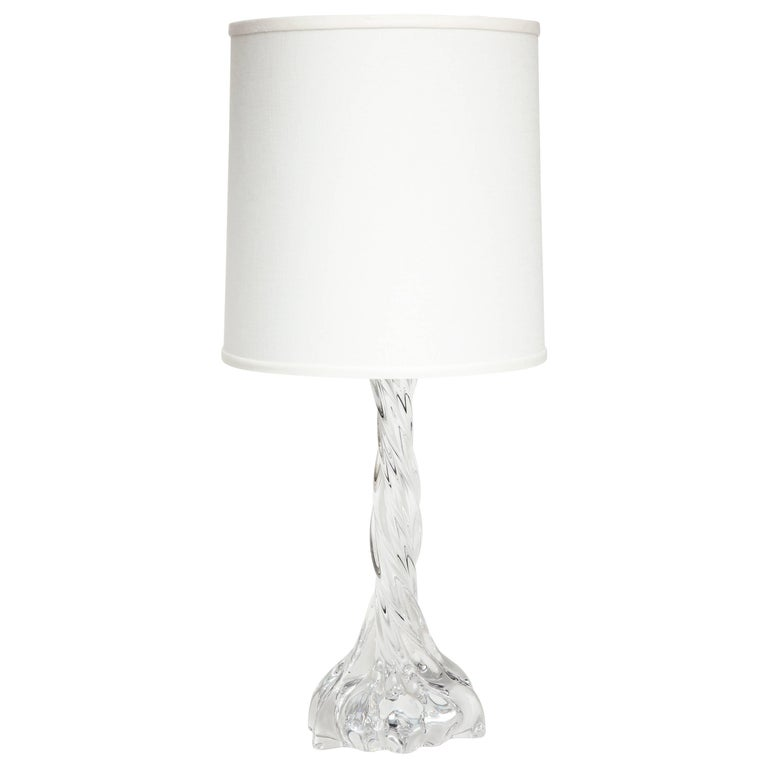 Baccarat Crystal Lamp with Twisted Pattern, Midcentury, 1950s, France For Sale