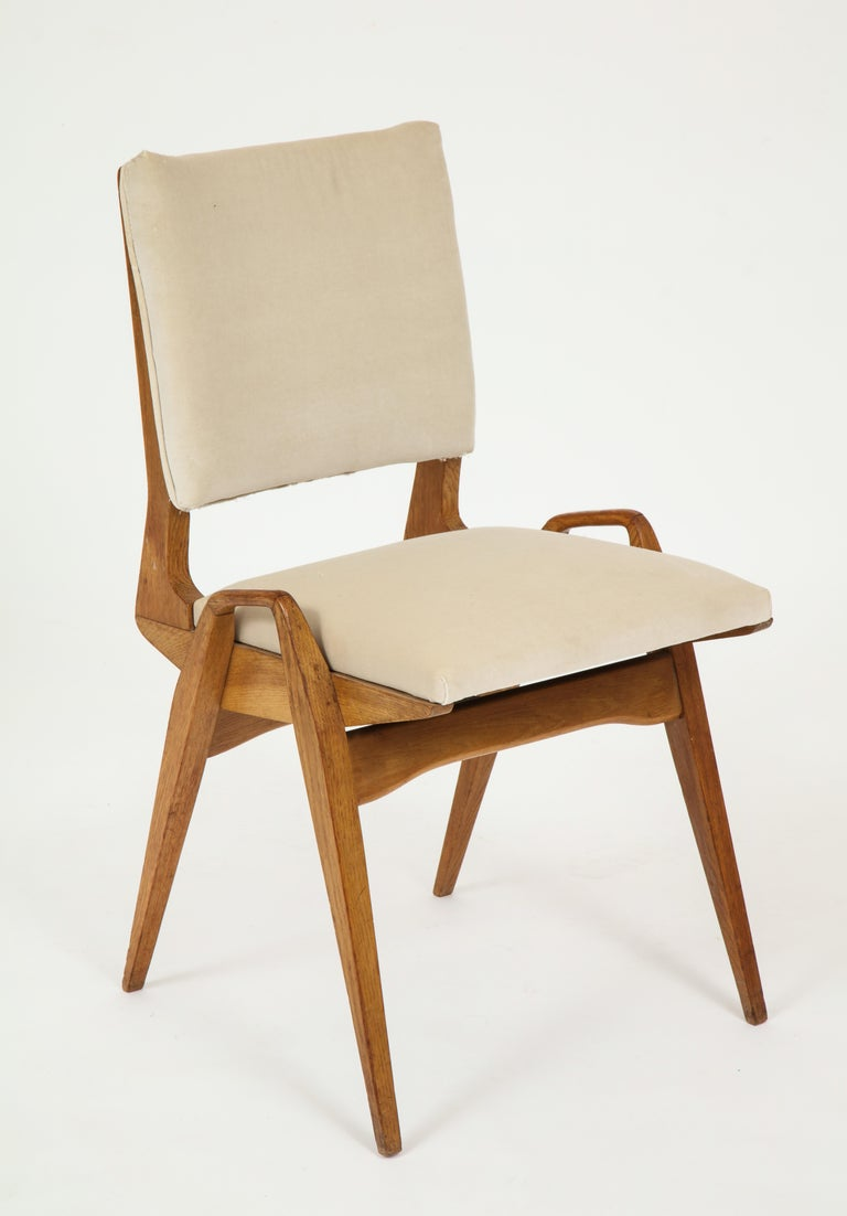 French Maurice Pre 6 Dining Chairs, Midcentury, France, 1950s For Sale