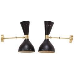 Stilnovo Style Diablo Brass Black Midcentury Italian Wall Light Sconces, 1950
