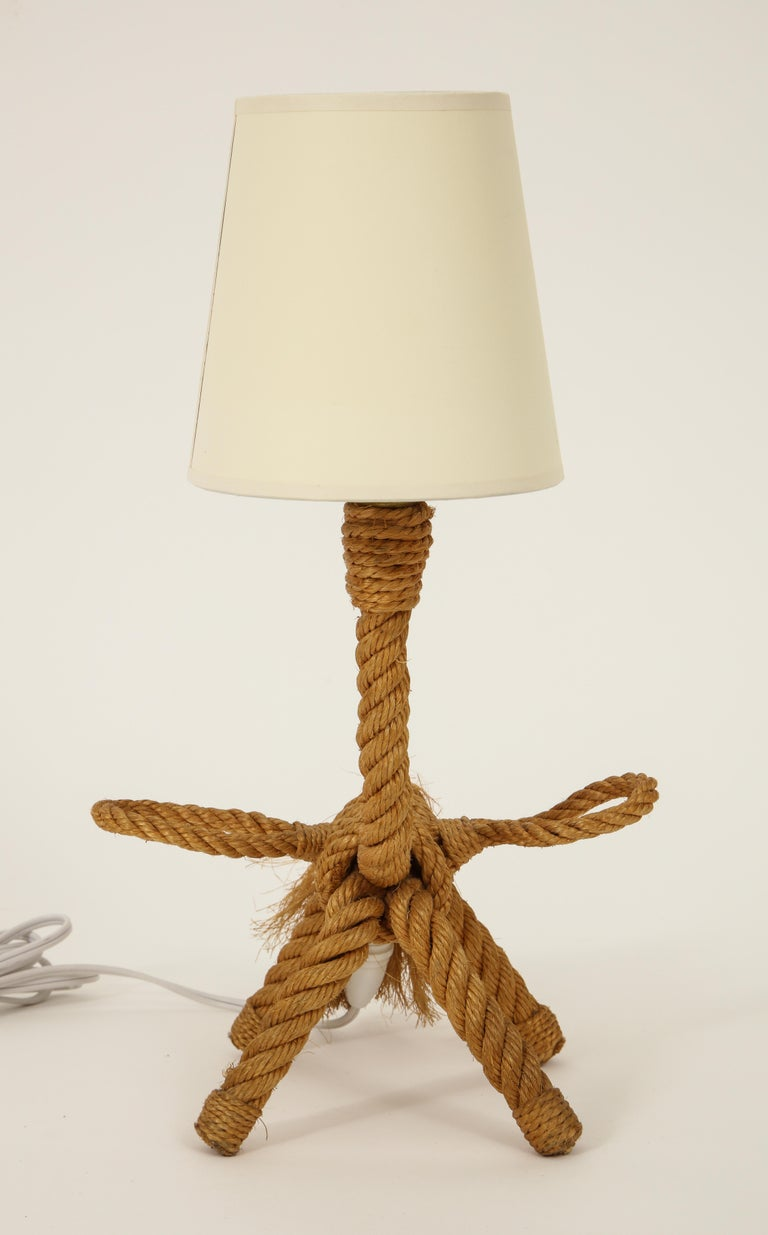French Pair of Desk Lamps Corde Attributed to Audoux Minet, Unicorn Shape, France, 1950 For Sale