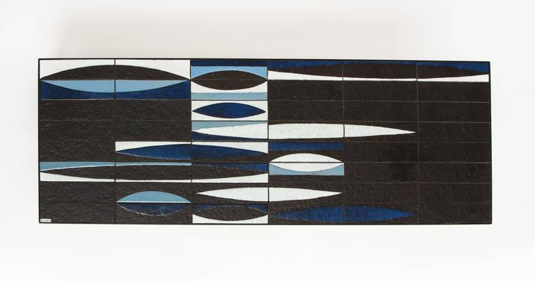 French Capron Blue Black  Ceramic Navette Coffee Table, Iron 1950 France Mid Century For Sale