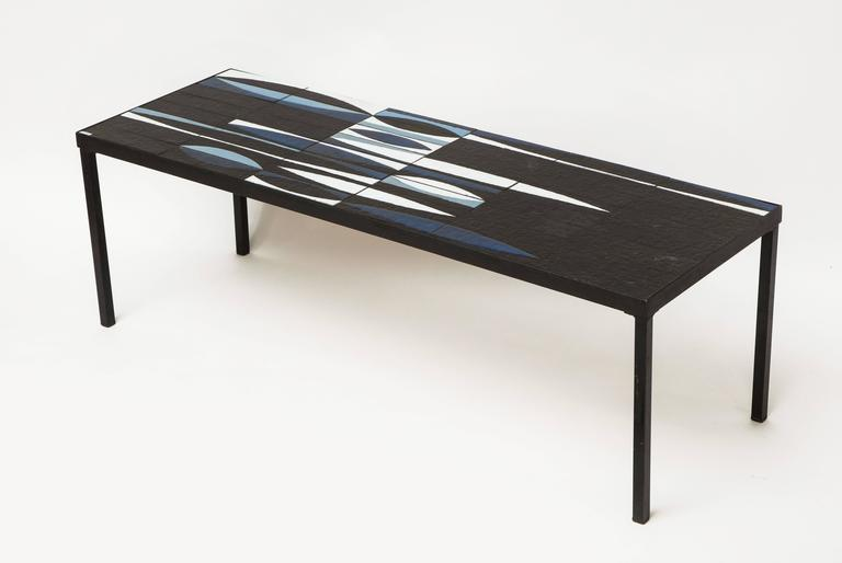 Capron Blue Black  Ceramic Navette Coffee Table, Iron 1950 France Mid Century 3