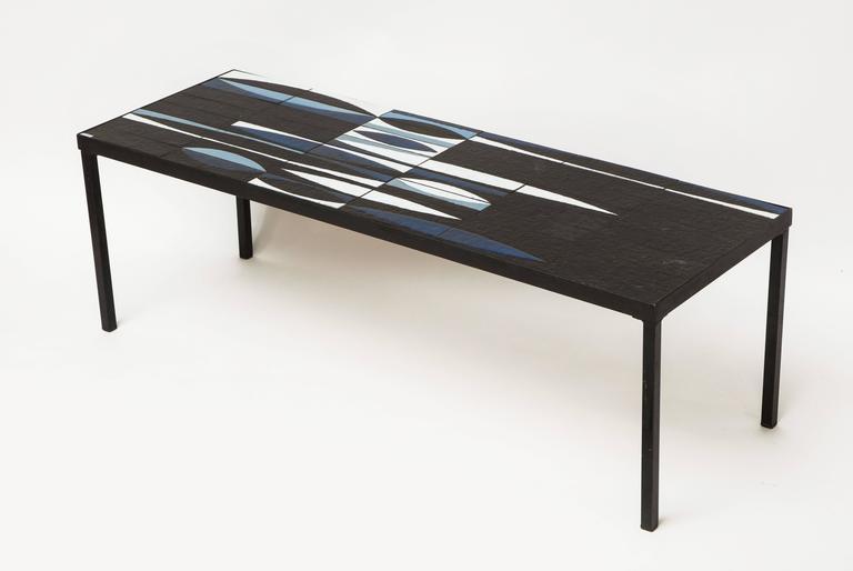 Mid-Century Modern Capron Blue Black  Ceramic Navette Coffee Table, Iron 1950 France Mid Century For Sale