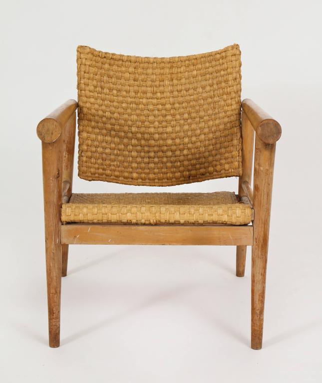 Straw Wicker Woven Rush Chair Mid Century Attr. Jean Michel Frank, 1930  France Woven
