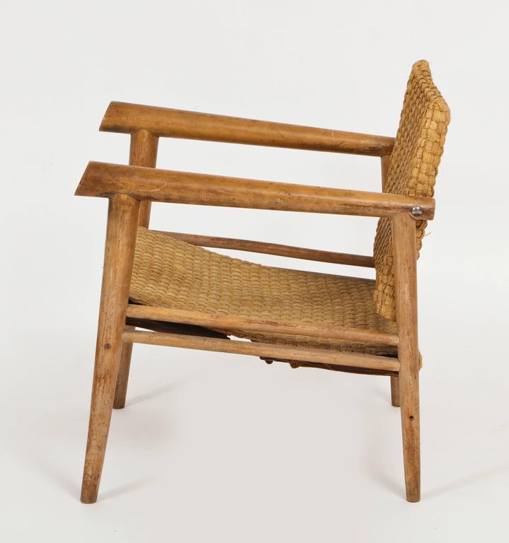 Beautiful Straw Wicker Woven Rush Chair Mid Century Attr. Jean Michel Frank  XC62