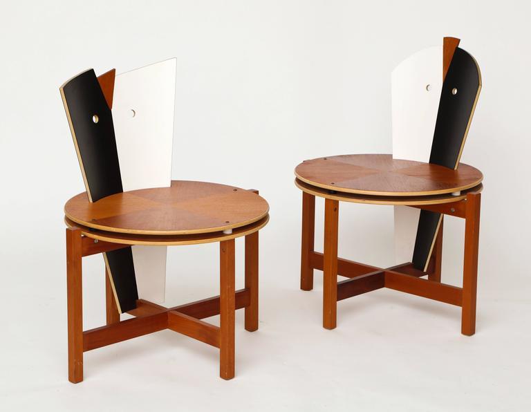 Robert evanson post modern 1980 chairs tables pair for Post modern chair