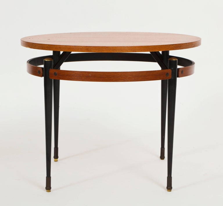 Round Coffee Table With Metal Legs: Italian Ponti Style Round Side Table With Metal Legs